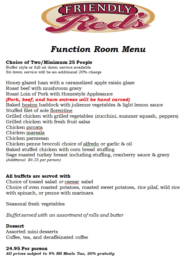 Friendly Red's Tavern Function Room Menu