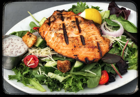 Grilled Salmon Salad - Friendly Red's Tavern